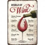 """Plaque en métal 20 X 30 cm : """"World of Wine"""" - """"Le monde du vin"""""""