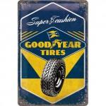 "Plaque en métal 20 X 30 cm : ""Goodyear tires"" - ""Pneus Goodyear"""