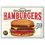 Plaque en métal 30 X 40 cm : Publicité Hamburger