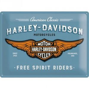 Plaque en métal 30 X 40 cm Harley-Davidson logo sur fond bleu