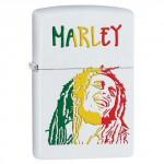 """Briquet essence Zippo Bob Marley dessin sur fond """"white matte"""""""