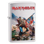 "Briquet essence Zippo Iron Maiden pochette squelette fond ""brushed chrome"""