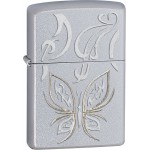 "Briquet essence Zippo le papillon sur fond ""satin chrome"""