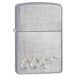 """Briquet essence Zippo James Bond 007 sur fond """"linen weave chrome"""""""