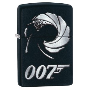 """Briquet essence Zippo James Bond 007 image mythique fond """"black matte"""""""