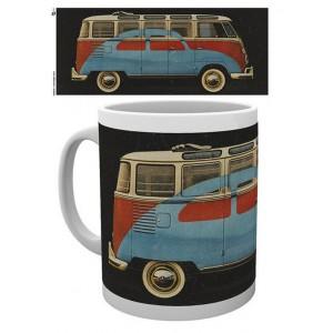 Tasse à café (coffee mug) VW Volkswagen T1 BULLI rouge et blanc décor Cox bleue