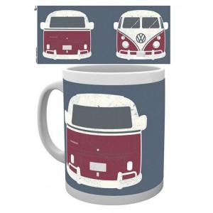 Tasse à café (coffee mug) VW Volkswagen T1 BULLI rouge et blanc vu de face et de l'arrière