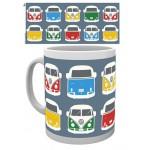 Tasse à café (coffee mug) VW Volkswagen T1 BULLI pêle-mêle multicolores vu de face ou de l'arrière