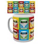 Tasse à café (coffee mug) VW Volkswagen T1 Bulli multicolores et de face
