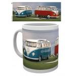 Tasse à café (coffee mug) 2 bus VW Volkswagen T1 Bulli, un rouge et un bleu