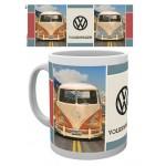 Tasse à café (coffee mug) VW Volkswagen T1 BULLI orange et bleu ciel