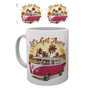 Tasse à café (coffee mug) VW Volkswagen T1 BULLI rouge sous les palmiers