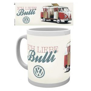 Tasse à café (coffee mug) VW Volkswagen T1 BULLI rouge et blanc deployé