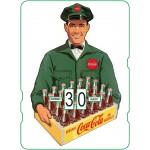 Calendrier perpétuel cartonné Coca-Cola : livreur d'un casier de 24 petites bouteilles