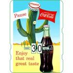 Calendrier perpétuel cartonné Coca-Cola : pause dans le désert avec ses cactus