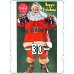Calendrier perpétuel cartonné Coca-Cola : Père Noël qui souhaite de joyeuses vacances