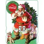 Calendrier perpétuel cartonné Coca-Cola : Père Noël et le petit chien devant les cadeaux