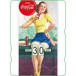 Calendrier perpétuel cartonné Coca-Cola : Pin-up qui prend son lunch pendant le sport