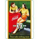 Calendrier perpétuel cartonné Coca-Cola : 2 basketteuses font une pause
