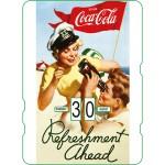 Calendrier perpétuel cartonné Coca-Cola : un jeune couple à la plage