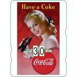 Calendrier perpétuel cartonné Coca-Cola : Pin-up suggérant de déguster le célèbre breuvage