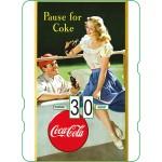 Calendrier perpétuel cartonné Coca-Cola : Couple d'amoureux faisant une pause