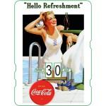 Calendrier perpétuel cartonné Coca-Cola : Pin-up à la piscine