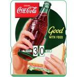 Calendrier perpétuel cartonné Coca-Cola : boisson idéale en mangeant