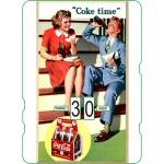 Calendrier perpétuel cartonné Coca-Cola : jeune couple prenant leur lunch