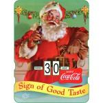 Calendrier perpétuel cartonné Coca-Cola : Portrait du Père Noël souriant
