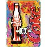 Calendrier perpétuel cartonné Coca-Cola : la bouteille mythique sur fond bariolé