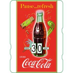 Calendrier perpétuel cartonné Coca-Cola : Pause fraîcheur et festive