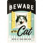 """Plaque en métal 20 X 30 cm """"Beware of the cat"""" - """"Attention au chat"""""""
