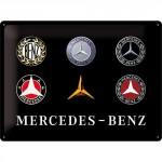 Plaque en métal 30 X 40 cm Mercedes-Benz : Evolution du logo au fil du temps