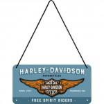 Plaque en métal 10 X 20 cm à suspendre : Harley-Davidson depuis 1903 sur fond bleu