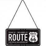 Plaque en métal 10 X 20 cm à suspendre : Route 66 2451 miles