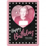 "Plaque en métal 14 X 10 cm ""Happy Birthday to you"" avec Marylin Monroe"