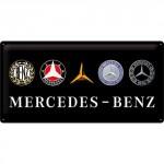 Plaque en métal 25 x 50 cm : Mercedes-Benz : Logos au fil du temps