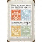 """Plaque en métal 20 X 30 cm """"Dog rules"""" (chien)"""