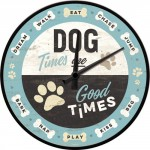 "Horloge murale : ""Dog times are good times"" (chien)"