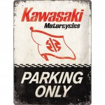 Plaque en métal 30 X 40 cm : Kawasaki Parking Only