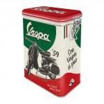 Boîte en métal rectangulaire avec clips Vespa 1959