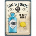 Plaque en métal 30 X 40 cm : Gin & Tonic