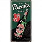 Plaque en métal 25 x 50 cm : Beck's bier (bière)