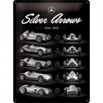 Plaque en métal 30 X 40 cm : Mercedes-Benz Silver Arrow 1934-1955