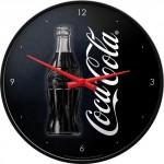 Horloge murale vintage : Coca-Cola : Bouteille sur fond noir