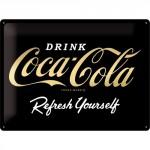 Plaque en métal 30 X 40 cm : Coca-Cola Edition spéciale dorée