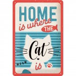 "Plaque en métal 20 X 30 cm ""Home is where de cat is"""