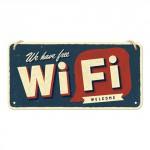Plaque en métal 10 X 20 cm à suspendre : Free Wifi