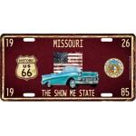 Plaque en métal 15 X 30 cm Parcours de la mythique Route 66 : Missouri